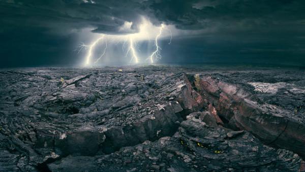 A rare lightning storm over recent lava flows on Hawaii
